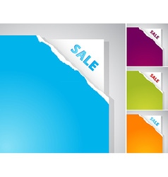 Set of torn papers with Sale sign vector image vector image