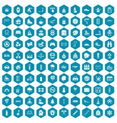 100 children activities icons sapphirine violet vector image