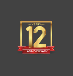 12 years anniversary logo style with golden vector