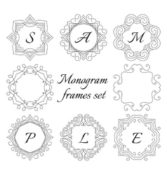 8 monogram frames Retro style set Hand drawn vector image