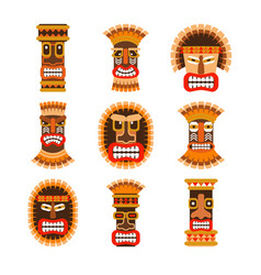 African ritual masks set vector