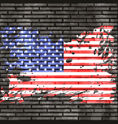 American flag on brick wall vector