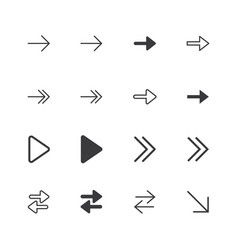Arrow icons isolated perfect pixel icon set vector