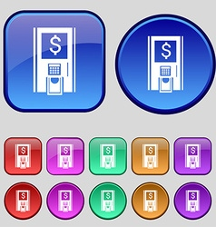 Atm icon sign A set of twelve vintage buttons for vector
