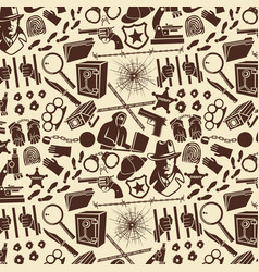 background pattern with detective icons vector image