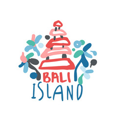Bali island summer vacation colorful travel logo vector