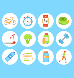 Bicycle bottle and timer set vector