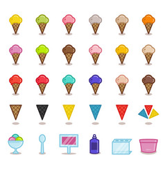 Big set of simple outline icons for gelato cafe vector