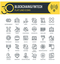 blockchain and fintech outline icons vector image