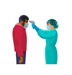 Body temperature check female medic holding vector