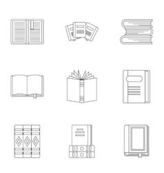 Books icons set outline style vector image