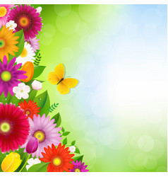 Border flowers with butterfly vector