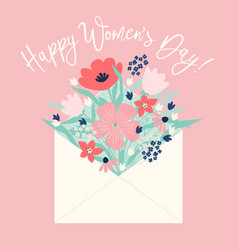 bouquet spring flowers in envelope vector image
