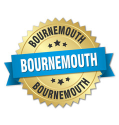 bournemouth round golden badge with blue ribbon vector image