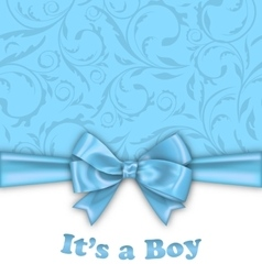 Boy bashower invitation card with blue bow vector