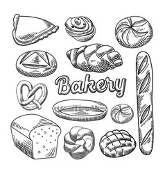 Bread bakery food hand drawn doodle vector