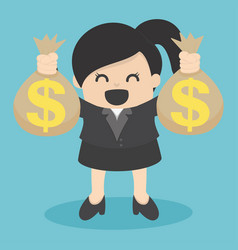 business woman holding money bag vector image