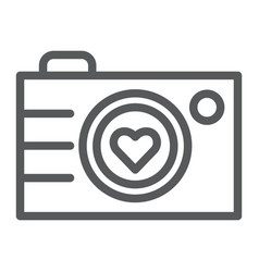 Camera line icon photography and love love photo vector
