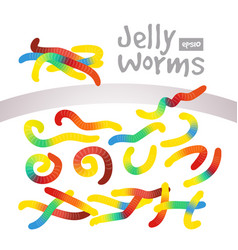 Candy gummy jelly worms twist gelatin sweets vector