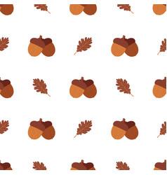 cartoon style acorns and oak leaves pattern vector image