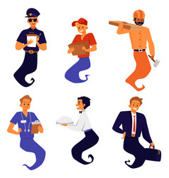 Characters of genie of various professions flat vector