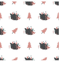 Christmas seamless pattern with hedgehogs great vector