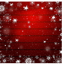 Christmas snowflakes on a red wood background vector