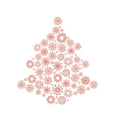 Christmas tree made from snowflakes vector