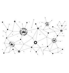 concept of social media network network of icons vector image