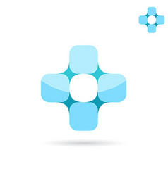 Connected squares forme medical cross shape vector