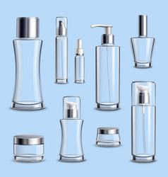 Cosmetics glass package realistic set vector