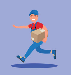 courier runs with parcel vector image