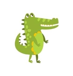 Crocodile Walking On Two Legs Flat Cartoon Green vector image