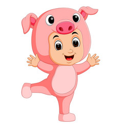 cute boy cartoon wearing pig costume vector image