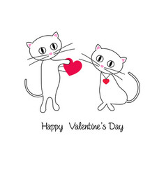 Cute cats valentine with heart vector