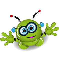 Cute green robot vector image