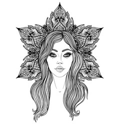 divine goddess black and white girl over sacred vector image