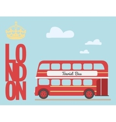 double decker bus cartoon from england british vector image