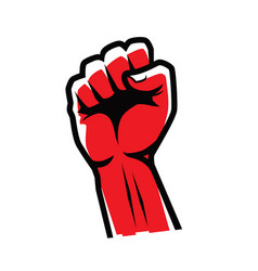 fist clenched symbol power strength logo vector image
