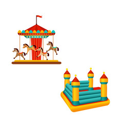 flat carousel ride and inflatable bouncy castle vector image