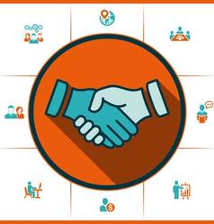 Flat icons handshake for business and finance vector image