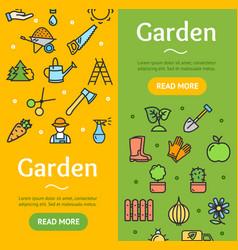gardening banner vecrtical set vector image