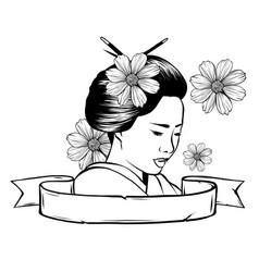 Geisha color tattoo symbol asia japan china vector
