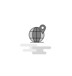 globe web icon flat line filled gray icon vector image