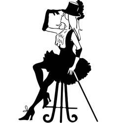 Graphic silhouette of a cabaret woman vector