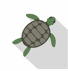 Green sea turtle icon flat style vector