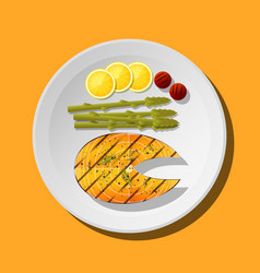 Grilled salmon steak with vegetables and spices vector