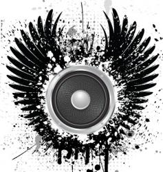 grunge sound wings vector image