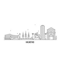 halmstad skyline halland swedish line art vector image