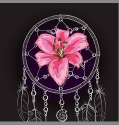 Hand drawn ornate dream catcher with pink lily vector